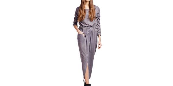 Dámske dlhé šedé šaty Lanti