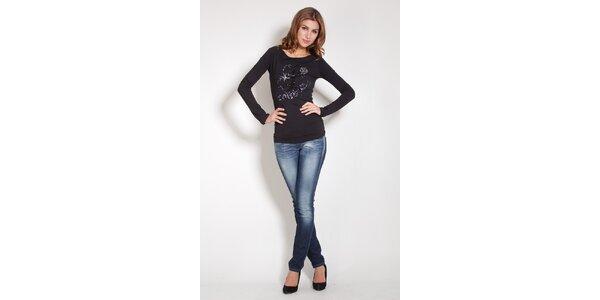 Dámske čierne tričko Lois s flitrami a korálkami
