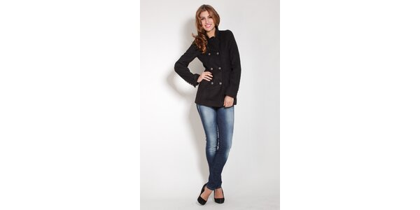 Dámsky čierny flaušový kabát Lois
