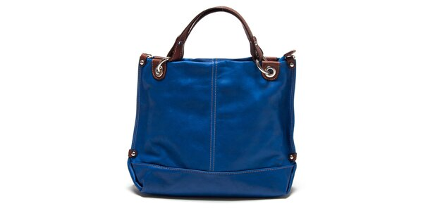 Dámska modrá kabelka s hnedými ušami Renata Corsi