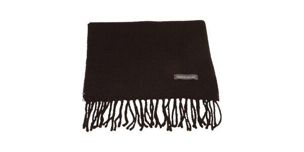 Čierny šál so strapcami Pierre Cardin