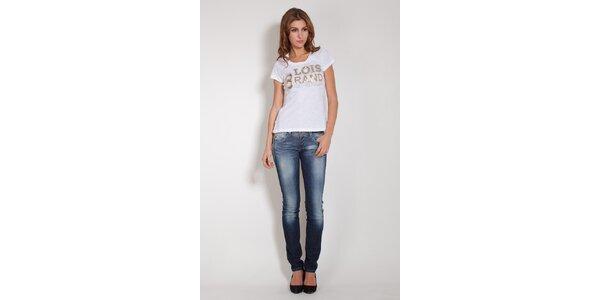 Dámske biele tričko Lois so zlatými flitrami