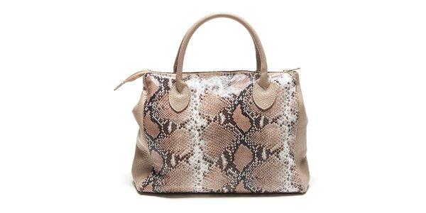 Dámska béžová kabelka s hadím vzorom Renata Corsi