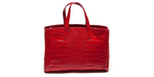 Dámska červená kabelka so vzorom krokodílej kože Renata Corsi