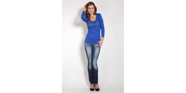 Dámske žiarivo modré tričko Lois s retiazkami