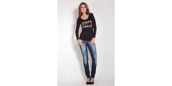 Dámske čierne tričko Lois so zlatou potlačou a korálkami