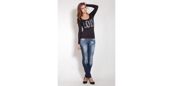 Dámske čierne tričko Lois s potlačou a korálkami