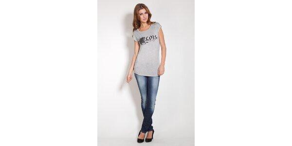 Dámske svetlo šedé tričko Lois s potlačou