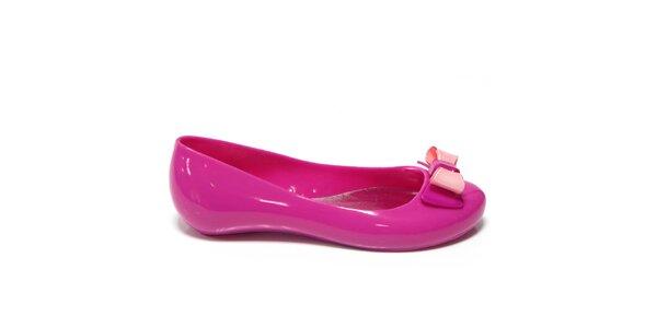 Dámske žuvačkovo ružové baleríny s mašľou Favolla