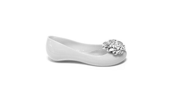 Dámske biele balerínky Favolla s ružou