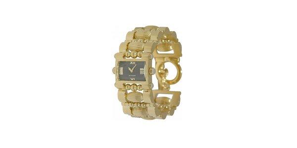 Dámske zlaté hodinky Gianfranco Ferré s čiernym ciferníkom