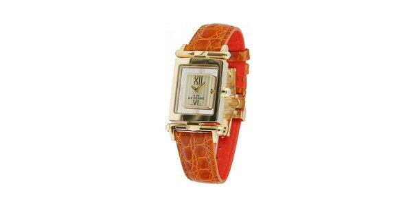 Dámske zlaté hodinky Gianfranco Ferré s hnedým koženým remienkom