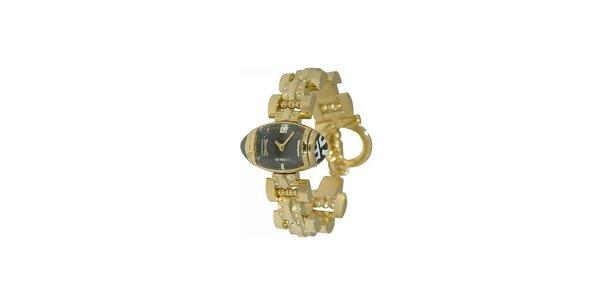 Dámske zlaté náramkové hodinky Gianfranco Ferré s čiernym ciferníkom