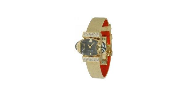 Dámske zlaté náramkové hodinky Gianfranco Ferré s čiernym ciferníkom a koženým…