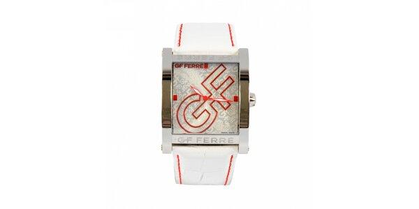 Dámske oceľové hodinky Gianfranco Ferré s červenými detailami a bielym remienkom