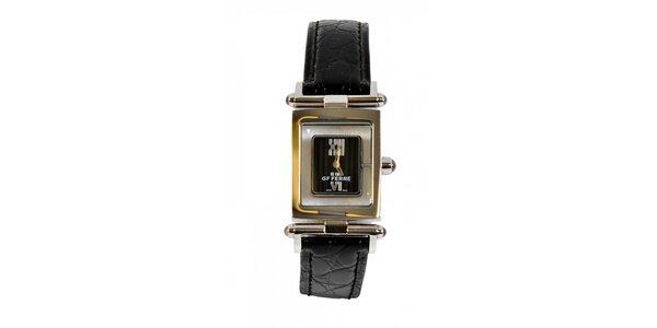 Dámske oceľové hodinky Gianfranco Ferré s čiernym koženým remienkom