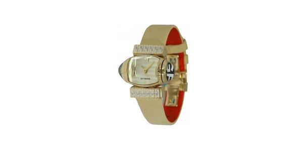 Dámske zlaté náramkové hodinky Gianfranco Ferré s bielym ciferníkom a koženým…