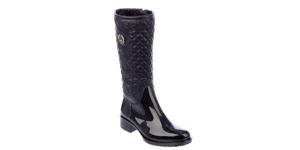 Dámske čierne prešívané topánky s opätkom Keddo