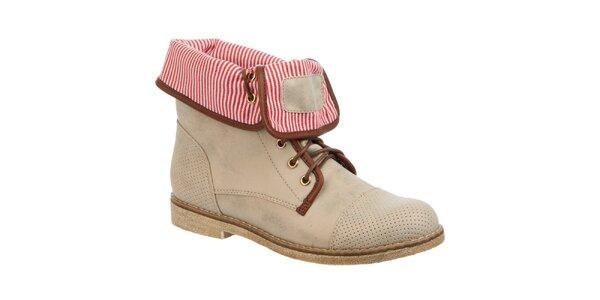 Dámske béžové topánky s pruhovaným vnútrom Betsy