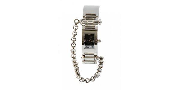 Dámske oceľové hodinky Gianfranco Ferré s retiazkou a čiernym ciferníkom