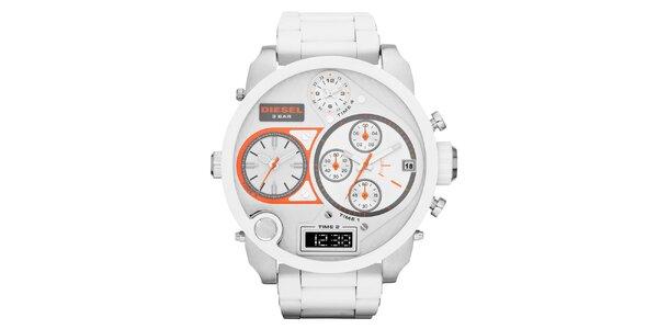 Pánske biele hodinky Diesel s multifunkčným ciferníkom