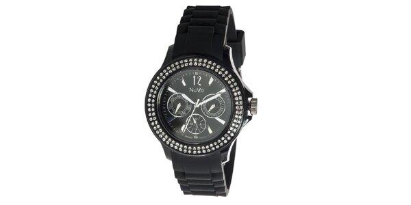 Čierne hodinky NuVo so Swarovski Elements