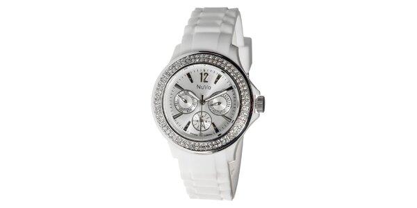 Biele hodinky NuVo so Swarovski Elements