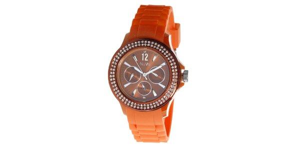 Oranžové hodinky NuVo so Swarovski Elements