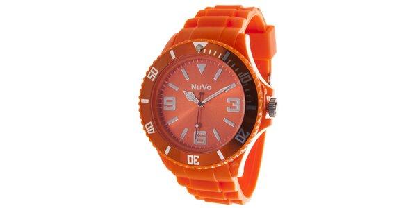Oranžové analógové hodinky NuVo
