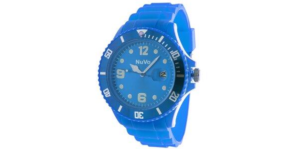 Modré hodinky s dátumovkou NuVo