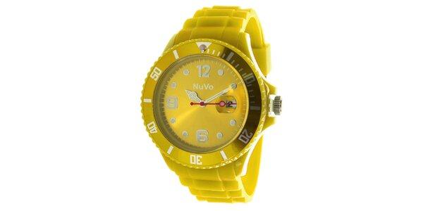 Žlté hodinky s dátumovkou NuVo