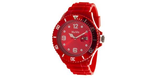 Červené hodinky s dátumovkou NuVo