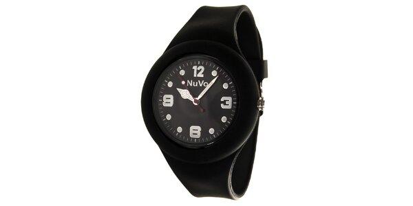 Čierne hodinky s hladkým remienkom NuVo