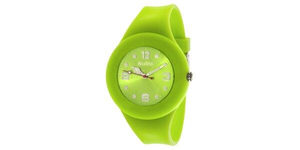 Svetlo zelené hodinky s hladkým remienkom NuVo