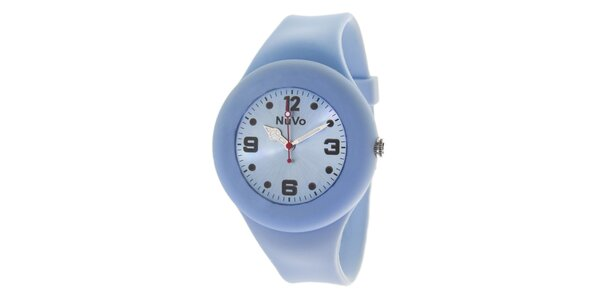 Svetlo modré hodinky s hladkým remienkom NuVo