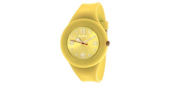 Žlté hodinky s hladkým remienkom NuVo