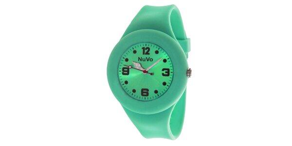 Zelené hodinky s hladkým remienkom NuVo