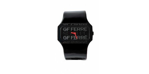 Dámske čierne hodinky Gianfranco Ferré s čiernym lakovaným remienkom