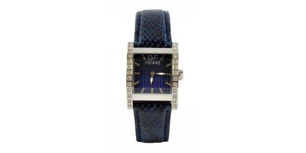 Dámske oceľové hodinky Gianfranco Ferré s kamienkami a tmavo modrým koženým…