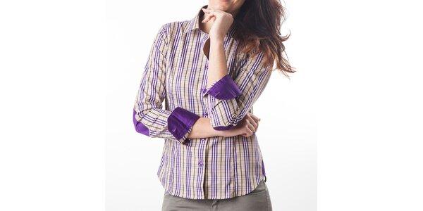Dámska fialovo-béžová kockovaná košeľa Lexa Slater
