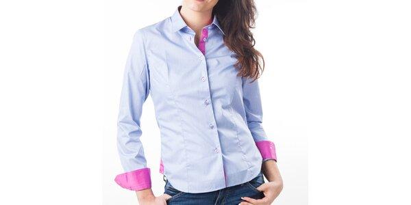 Dámska modrá košeľa s ružovými detailmi Lexa Slater