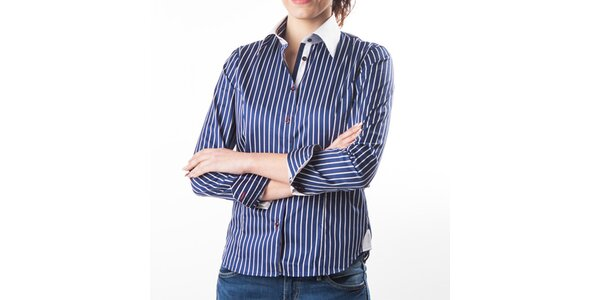 Dámska tmavo modrá košeľa s prúžkami Lexa Slater