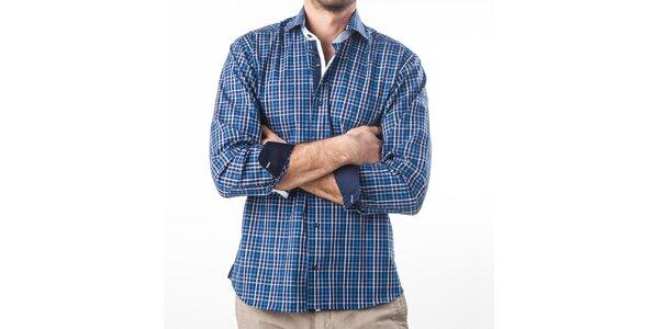Pánska modrá kockovaná košeľa s dlhým rukávom Lexa Slater