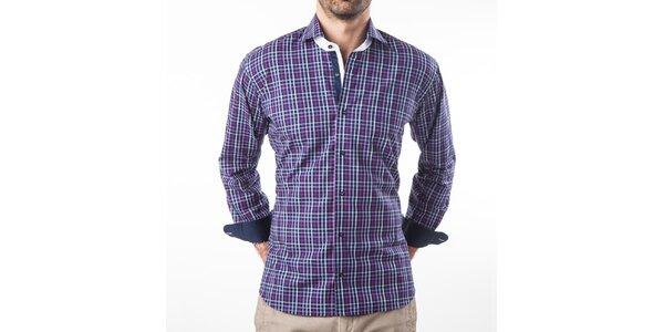 Pánska fialová kockovaná košeľa s dlhým rukávom Lexa Slater
