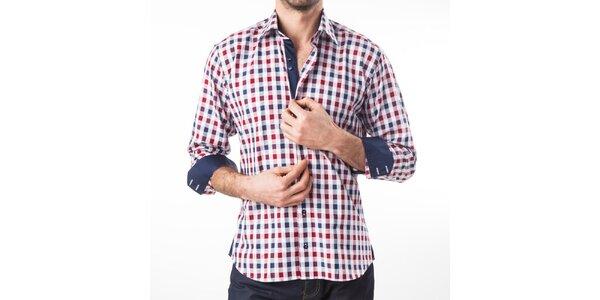 Pánska modro-červeno-biela kockovaná košeľa Lexa Slater