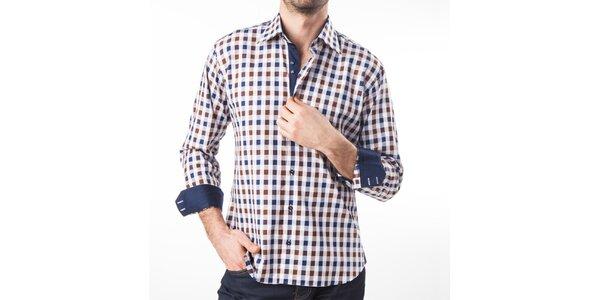 Pánska modro-hnedo-biela kockovaná košeľa Lexa Slater