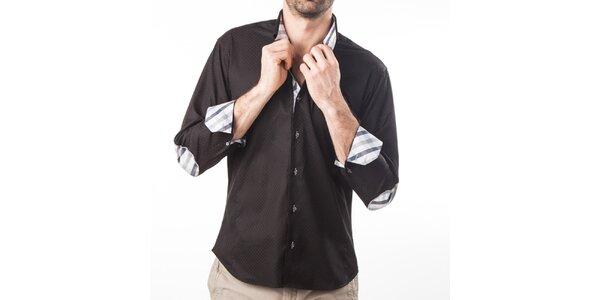 Pánska čierna košeľa s lakťovými nášivkami Lexa Slater