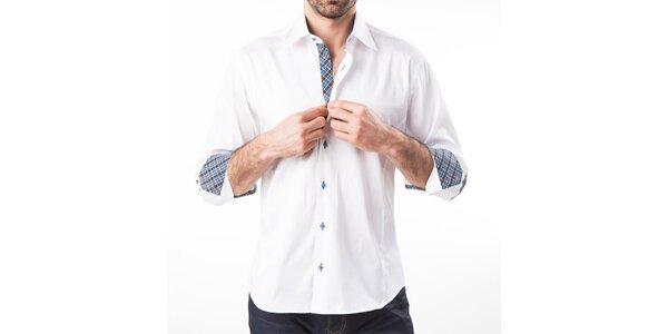 Pánska biela košeľa s lakťovými nášivkami Lexa Slater