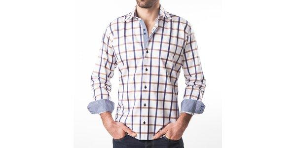 Pánska biela košeľa s farebne kockovaným vzorom Lexa Slater