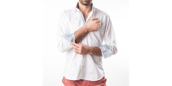 Pánska biela košeľa s kontrastnými prvkami Lexa Slater